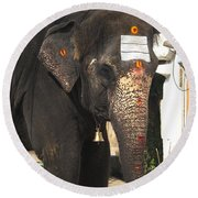 Lakshmi Temple Elephant Round Beach Towel