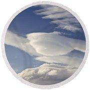 Lenticular Clouds Round Beach Towel