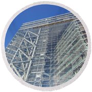 Low Angle View Of An Office Building Round Beach Towel