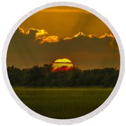 Lowcountry Sunset Over The Marsh Round Beach Towel