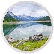 Mountain Lake In Jasper National Park Round Beach Towel