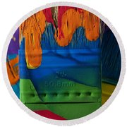 Multicolored Paint Can With Brushes Round Beach Towel