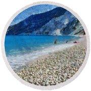Myrtos Beach In Kefallonia Island Round Beach Towel