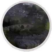 Old Stirling Bridge And Houses As Visible From Stirling Castle Round Beach Towel