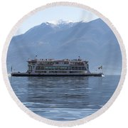 Passenger Ship On An Alpine Lake Round Beach Towel