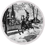 Paul Reveres Ride, 1775 Round Beach Towel