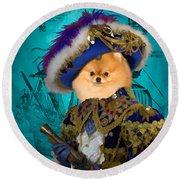 Pomeranian Art Canvas Print Round Beach Towel