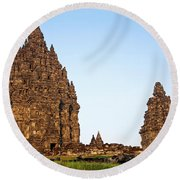 Prambanan Temple In Indonesia Round Beach Towel