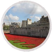 Remembrance Poppies At Tower Of London Round Beach Towel
