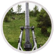 Replica Of Wooden Trebuchet On The Path Leading To The Urquhart Castle Round Beach Towel