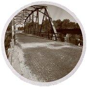 Route 66 - One Lane Bridge Round Beach Towel