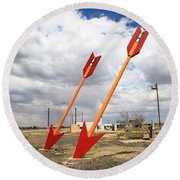 Route 66 - Twin Arrows Trading Post Round Beach Towel