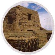 Ruins Of The Pecos Pueblo Mission Round Beach Towel