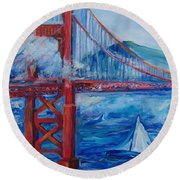 San Francisco Golden Gate Bridge  Round Beach Towel