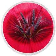 Scarlet Flax Round Beach Towel