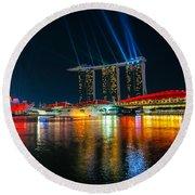 Singapore City Skyline Round Beach Towel