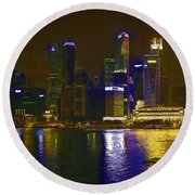 Singapore Skyline As Seen From The Pedestrian Bridge Round Beach Towel
