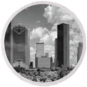 Skyscrapers In A City, Houston, Texas Round Beach Towel