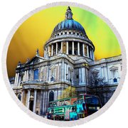 St Pauls Cathedral London Art Round Beach Towel