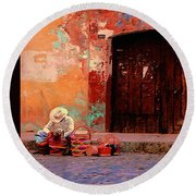 Streets Of Oaxaca Round Beach Towel