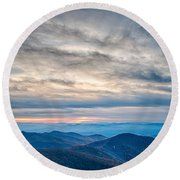 Sunset View Over Blue Ridge Mountains Round Beach Towel