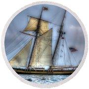 Tall Ships Round Beach Towel