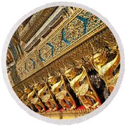 Temple In Grand Palace Bangkok Thailand Round Beach Towel