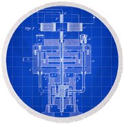 Tesla Electric Generator Patent 1894 - Blue Round Beach Towel