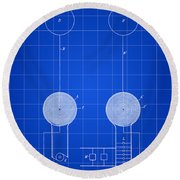 Tesla Electric Transmission Patent 1900 - Blue Round Beach Towel