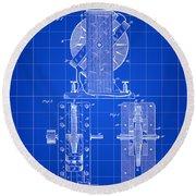 Tesla Electro Magnetic Motor Patent 1889 - Blue Round Beach Towel