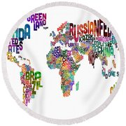Text Map Of The World Round Beach Towel by Michael Tompsett