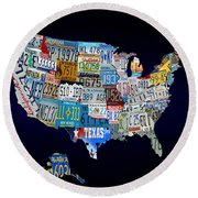 The Usa License Tag Map Round Beach Towel