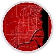 Thunder Bay Street Map - Thunder Bay Canada Road Map Art On Colo Round Beach Towel