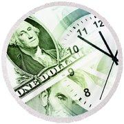 Time Is Money Round Beach Towel