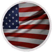 Usa Flag Round Beach Towel by Les Cunliffe