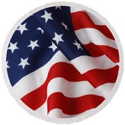 USA Round Beach Towel by Les Cunliffe