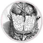 Vesalius: Brain, 1543 Round Beach Towel
