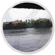 View Of Lake Resort Framed From The Top Of A Houseboat Round Beach Towel