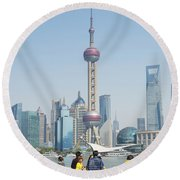 View Of Pudong In Shanghai China Round Beach Towel