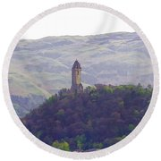 View Of Wallace Monument From The Heights Of The Stirling Castle Round Beach Towel