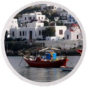 A Boat In The Harbor Of Mykonos Greece Round Beach Towel