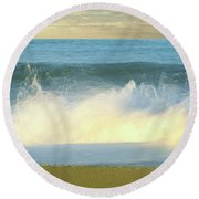 Waves Breaking On The Beach, Playa La Round Beach Towel