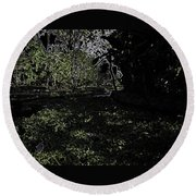 Weeds And Plants In A Coastal Saltwater Creek Round Beach Towel