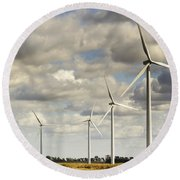Wind Powered Electric Turbine Round Beach Towel