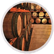 Wine Barrels Round Beach Towel by Elena Elisseeva
