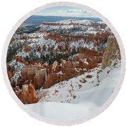 Winter Scene, Bryce Canyon National Park Round Beach Towel