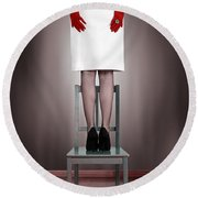 Woman On Chair Round Beach Towel