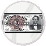 50 Cent Lincoln Bill  1863 Round Beach Towel