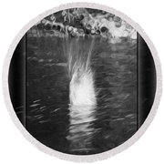 50 Shades Of Grey Abstract Black And White Painting Round Beach Towel