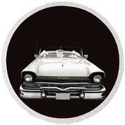 50s Ford Fairlane Convertible Round Beach Towel